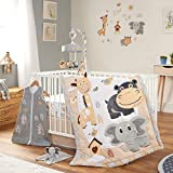 Oberlux Crib Bedding Set for Boys or Girls, 8 Piece Baby Nursery Bedding Crib Set, Jungle Animal Safari Theme, Gray/Tan/White