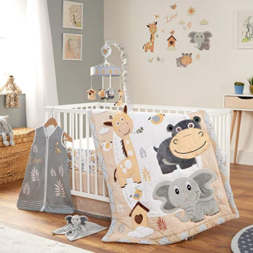 Oberlux Crib Bedding Set for Boys and Girls, 8 Piece Baby Nursery Bedding Crib Set, Jungle Animal Safari Theme, Gray/Tan/White