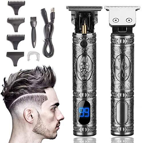 Xnuoyo Pantalla Digital Cortapelos USB Recargable Recortador de Barba Hombre Electrónico Cortar Pelo y Afeitadora para adultos y niños (Plata)