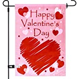 Aozer Valentines Day Garden Flag 12 x 18 Inch Valentine Day Garden Flag with 1 Rubber Stopper and 1 Clear Anti-Wind Clip for Valentine's Day Home Garden Wedding Party Decorations (Color 1)