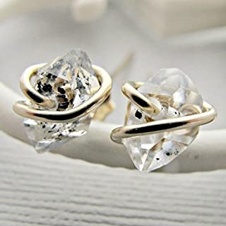 Raw Quartz Studs, Herkimer Diamond Earrings Studs, 14k Gold Fill Post, Rough Diamond Earrings, Crystal Earrings, Quartz Studs, Diamond
