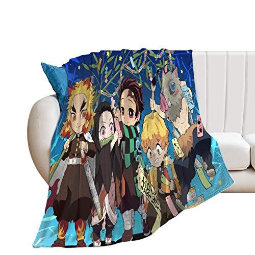 Manta de microfibra súper suave y cómoda para cama con póster de Anime Demon Slayer All Roles de algodón de alta calidad para parejas, 80 x 100 cm