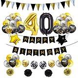 Set De Globos Negros Y Dorados 30 40 50 60 Años Fiesta De Cumpleaños Para Adultos oro negro
