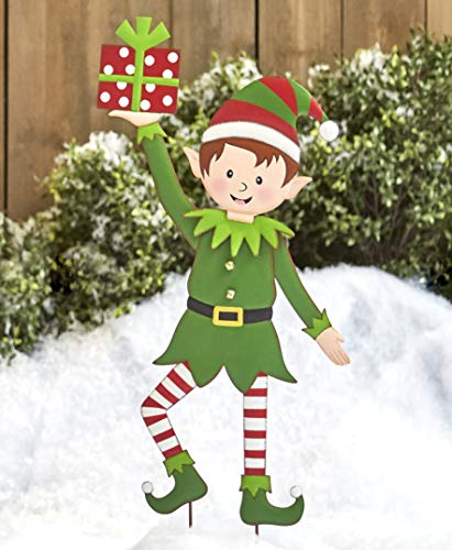 The Lakeside Collection Christmas Elf Garden Stake - Outdoor Holiday Yard Decoration - Boy