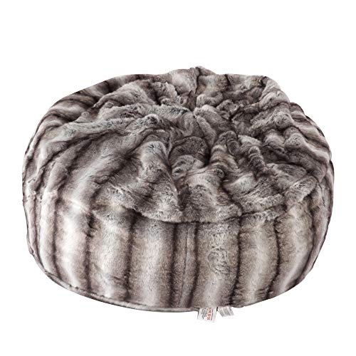 Faux Fur Bean Bag Chair Luxury and Comfy Big Beanless Bag Chairs Plush Furry Chair Soft Sofa Lounger for Adults and Kids,Sponge Filling, 3 ft, Grey Streak Print