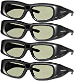 4 Pack 3DHeaven Rechargeable 3D Glasses Compatible with EPSON ELPGS03 3-D Glasses