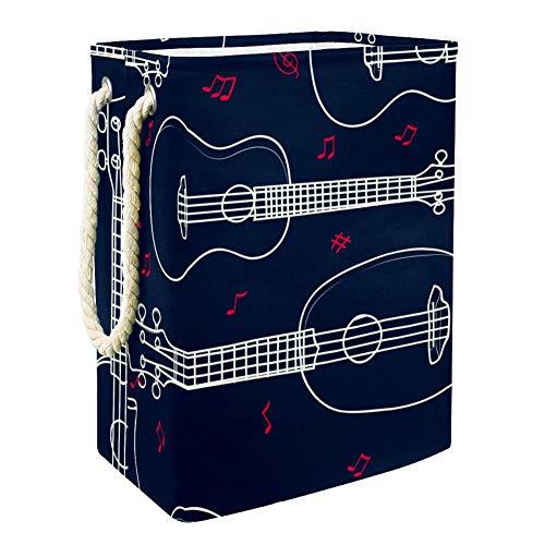 MUOOUM Cesto de lavandería plegable y resistente al agua, diseño de ukelele hawaiano, 19.25 pulgadas, cesta de ropa sucia, organizador de almacenamiento de lino para colección de juguetes
