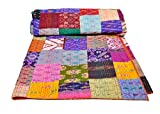 AndExports - Queen Size Multicolored Sari Patchwork Reversible Kantha Quilt, Indian silk sari patola quilt, Recycled Craft, Vintage Kantha Bedspread, Indian Handmade Gudri Bedspread, Unique Piece of Handmade Art by AndExports