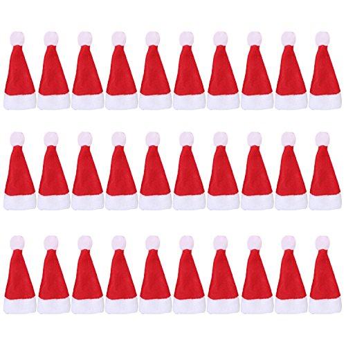 Gosear 30 Stk Cute Mini Red Santa Hat Xmas Dekoration für Weihnachten Lollipop Handwerk Arts Festgelegt