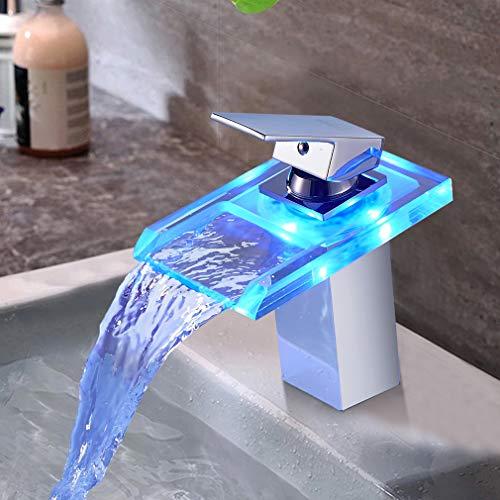 BONADE LED Wasserhahn Bad Wasserfall Waschtischarmatur aus Glas mit RGB 3 Farbewechsel Beleuchtung Einhandmischer Badarmatur mit Temperatursensor Waschbeckenarmatur für Badezimmer