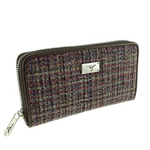 Women's Wallets - Harris Tweed Long Zip Purse-Staffa - MULTI COLOUR WEAVE - One Size