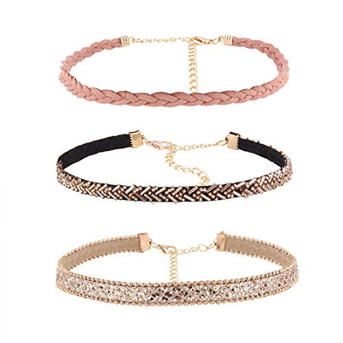 Choker Necklaces, Adjustable Collar Necklaces, Beaded Collar Necklace, CrazyPiercing Sequins Leather Velvet Chain Choker Necklace for Women Girls Set of 3