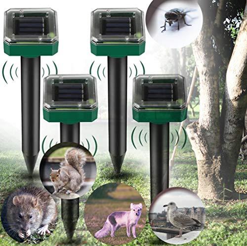 Solar Maulwurfschreck Ultrasonic Maulwurfabwehr Solar Maulwurfbekämpfung Wühlmausschreck Mole Repellent Schädlingsbekämpfung Wasserdichter IP56 für Katzen Hunde Schädlinge Rotwild