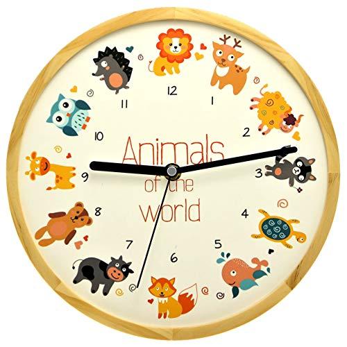 HHolzwerk Natuur kinderwandklok kinderen wandklok jongens meisjes vos leeuw REH dolfijn schildpad dieren motief hout geluidloos uurwerk zonder tikgeluiden stil Animal World