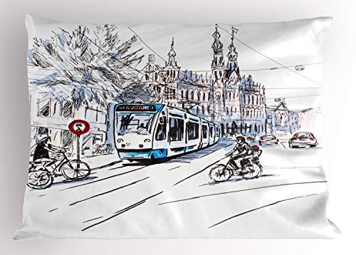 ABAKUHAUS Incompleto Funda de Almohada, Ámsterdam Paisaje Urbano, Decorativa de Suave Microfibra Estampada Lavable, 90 X 50 cm, La Lila Blanca