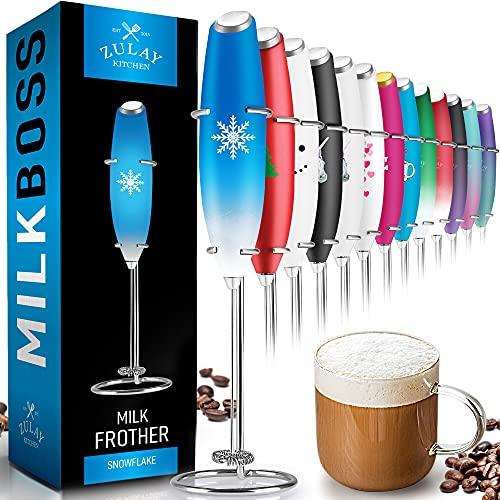 Zulay Original Milchaufschäumer Handschaum-Maker für Latte – Schneebesen Getränkemischer für Kaffee, Mini Foamer für Cappuccino, Frappe, Matcha, heiße Schokolade von Milk Boss (Snowflake)