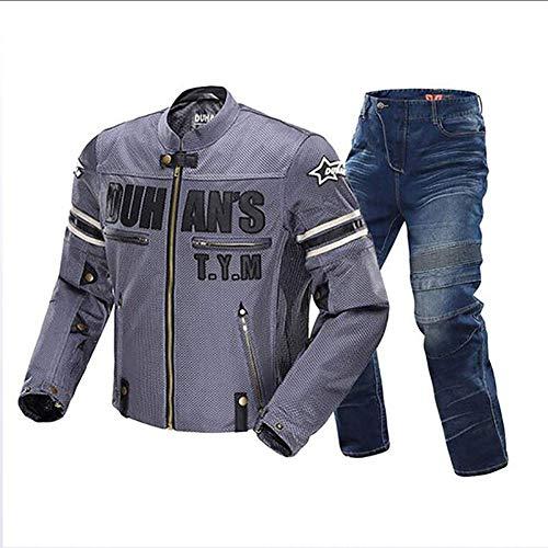 Sports Herren Motorradjacke Biker Rocker Motorrad Jacke Herren Motorradjacke Wasserdicht Hose Kombi All Weather Für Radsport, Motorrad, Langlauf,Black,XL