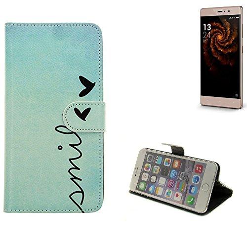 K-S-Trade® Schutzhülle Für Allview X3 Soul Style Hülle Wallet Case Flip Cover Tasche Bookstyle Etui Handyhülle ''Smile'' Türkis Standfunktion Kameraschutz (1Stk)