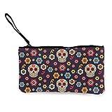 Monedero de lona con diseño de calavera mexicana, bolsa de maquillaje de viaje, bolsa de efectivo, estuche para lápices