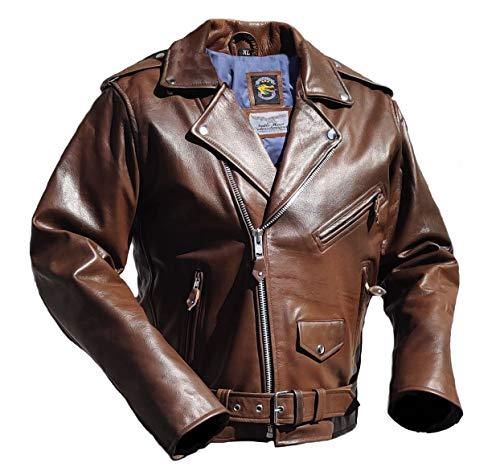 Noble House Herren Motorradlederjacke Bikerjacke Rockabilly Marlon Brando Cognac echt Rinderleder (M)