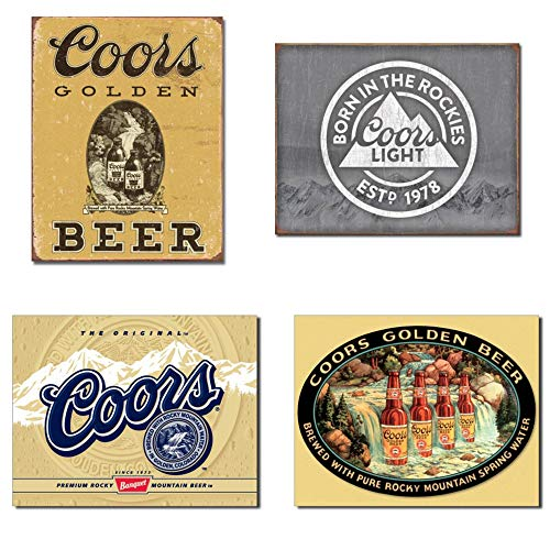 Bundle: Coors Tin Signs - Coors Golden Vintage, Coors Light Born in The Rockies, Coors Label and Coors Waterfall