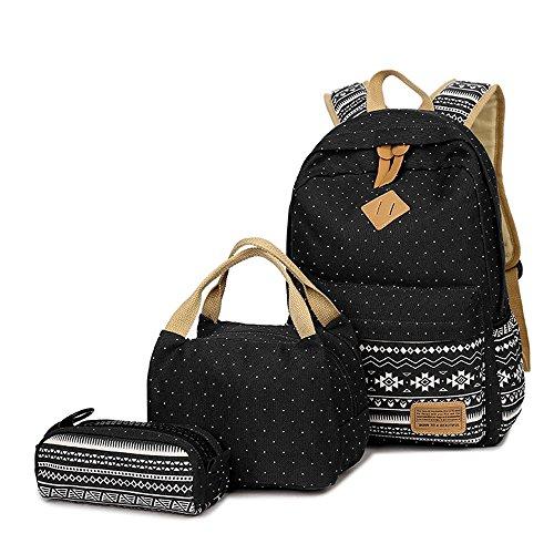 Neuleben Schulrucksack + Kühltasche + Mäppchen Schultaschen 3 Set aus Canvas für Jungen Mädchen Schule Freizeit (Schwarz)