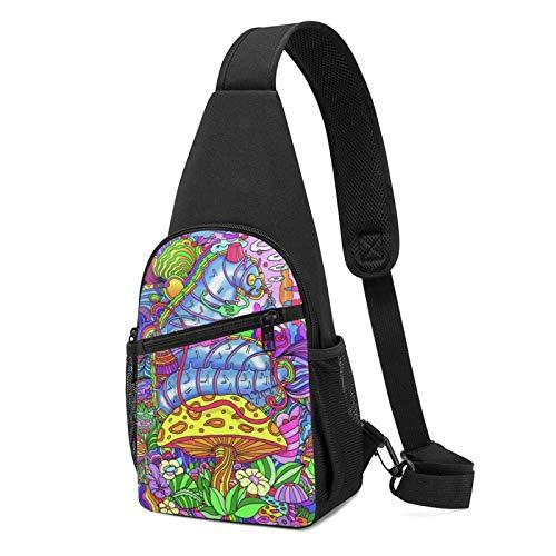 Hdadwy Smoke Mushrooms Sling Backpack,Travel Hiking Shoulder Bag Men's Casual Chest Bag