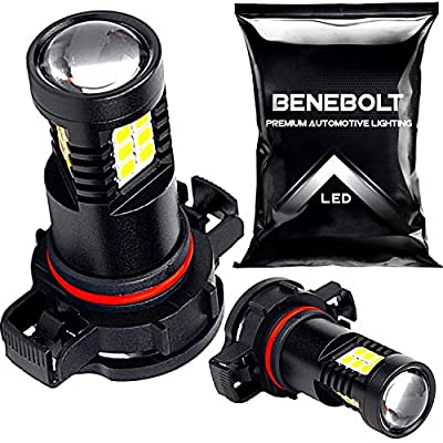 5202 LED Fog Light Bulbs - 6000K White with an HD Glass Projector Lens also works as (EU) H16 LED Fog Light Bulb with Upgraded 2835 LED producing Bright light for Enhanced Appearance BENEBOLT