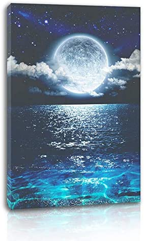 Canvas Wall Art for Bedroom Seascape with Moon Picture for Living Room Home Decor Ocean Landscape product image