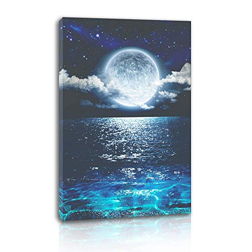 Canvas Wall Art for Bedroom Seascape with Moon Picture for Living Room Home Decor Ocean Landscape Print on Canvas Blue Sea Stretched Artwork for Bathroom Decor 1Pcs (12x16, Blue)