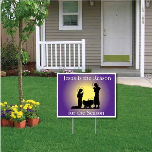 VictoryStore Yard Sign Outdoor Lawn Decorations: 'Jesus is the Reason for the Season' Nativity Scene Outdoor Lawn Sign, 18 Inches by 24 Inches, 2 Stakes Included