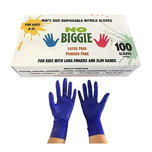 No Biggie Disposable Nitrile Gloves for kids Ages 8 - 12. Latex Free, Powder Free & Food Grade.