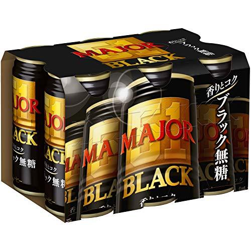 『MAJOR 香りとコク ブラック無糖 コーヒー缶 185g×6個』のトップ画像