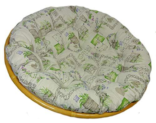 Rattani - Polster, Kissen für Papasansessel, Ersatzpolster Papasan D 120 cm, Stoff Mirha Leinen Green, Made in EU