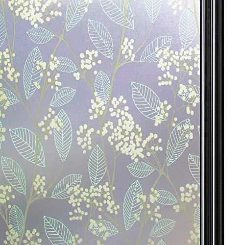 Qualsen sichtschutzfolie Fenster fensterfolie selbsthaftend Blickdicht milchglasfolie selbstklebend Fenster Selbstklebende fensterfolie (90cm x 200cm)