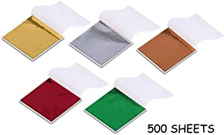 500 Sheets Imitation Gold Leaf for Arts, Gilding Crafting, Decoration, Furniture, 3.5 by 3.5 Inches(5 Colors)
