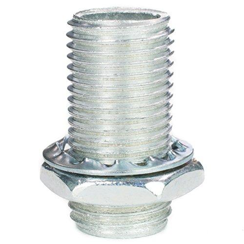 Gewinderohr M10x1, Länge 20mm, verzinkt - inkl. Sechskantmutter u. Sicherungsscheibe | Gewinderöhrchen für Lampe - 10 Stück