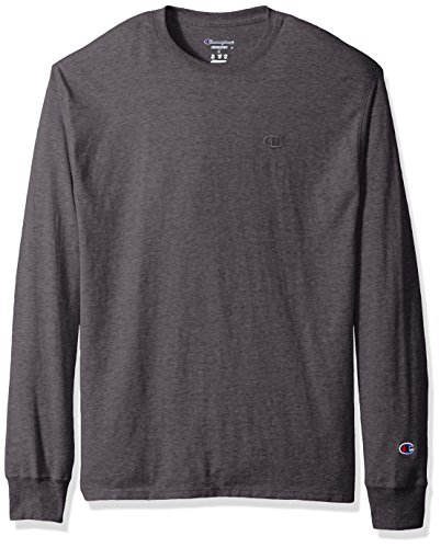 Champion Men's Classic Jersey Long Sleeve T-Shirt, Granite Heather, X-Large