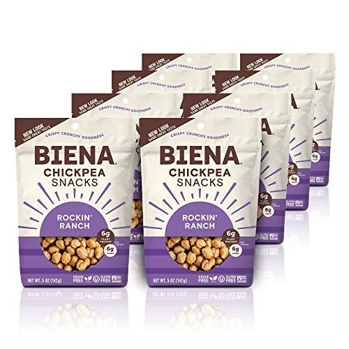 BIENA Rockin' Ranch Chickpea Snacks | Gluten Free | Vegan | Dairy Free | Plant-Based Protein (8 Pack)