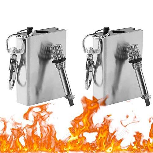 DJDL 2Pcs Ewige Streichhölzer, Survival Feuerzeug, Benzin Streichholzfeuerzeug aus Edehlstahl als Schlüsselanhänger Sturmfeuerzeug für Outdoor und Camping