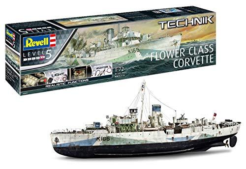 Revell 00451 - Technik Modellbausatz Schiff 1:72 - Flower Class Corvette mit Elektronik für Tolle Effekte im Maßstab 1:72, Level 5, Originalgetreue Nachbildung mit vielen Details -