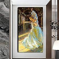 キャンバスのポスターとプリント北欧スタイルのヨーロッパの女性のキャンバスの絵画リビングルームの家の装飾のための踊る少女の壁の芸術の写真-70x140cmフレームなし