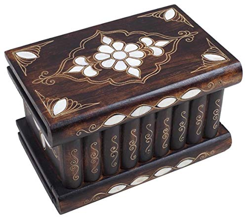 Tubibu - Unique Treasure Within Puzzle Secret Magic Box Hand Made Unique Jewelry Box Mother of Pearl Inlay- Walnut Wood-Genuine Mother of Pearl (8.26'x5.11'x4.72')