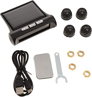 Perfk Car Wireless Solar TPMS Tire Pressure Temperature Monitor+4 External Sensors
