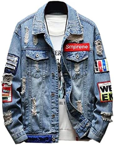 hower Men Washed Classic Ripped Motorcycle Denim Jacket Distressed Coat Outwear Blue XXL product image