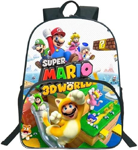 Mario - Mochila, diseño de Super Mario y Sonic, bolsa de viaje, mochila de nailon impermeable (11,16 pulgadas)