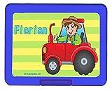 Brotdose Traktor PERSONALISIERT Lunchbox Brotbüchse Butterbrotdose für Kinder mit Namen viele Farben viele Motive
