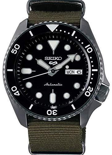 Seiko Herren Analog Automatik Uhr mit Textil Armband SRPD65K4