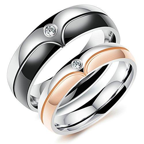 Beglie 2 Stück Ringe Eheringe Verlobungsringe Elegant Freundschaftsringe Herz Zirkonia Zweifärbig Trauringe Paarpreis Schwarz Gold mit Gratis Gravur Damen:54 (17.2) & Herren:57 (18.1)
