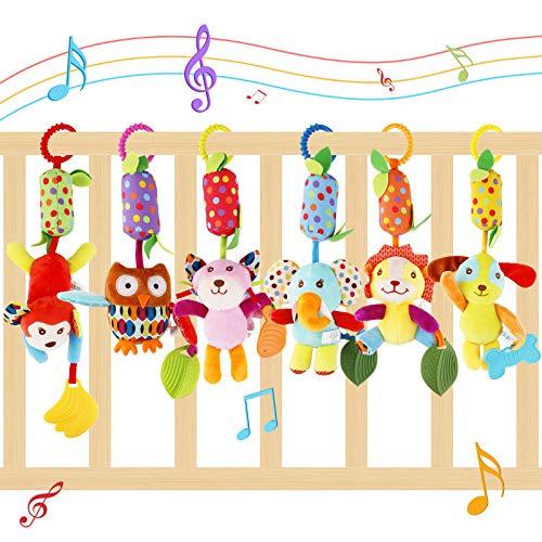 FancyWhoop Kinderwagen Hängespielzeug 6 Pack Kinderwagen Hängende Rassel Spielzeug Babybett Kinderbett Soft Animal Sensory Lernspielzeug für 3 6 9 12 Monate Jungen und Mädchen Geburtstagsgeschenke